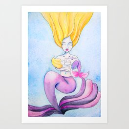 Milk Maid - Nursing Mermaid - Mermom Mama and Baby Mermaid Watercolor Painting Art Print