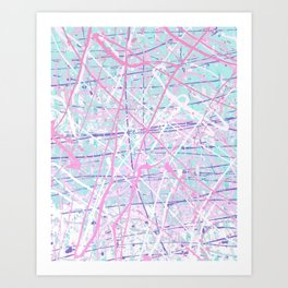 Flight of Color - pink turquoise Art Print
