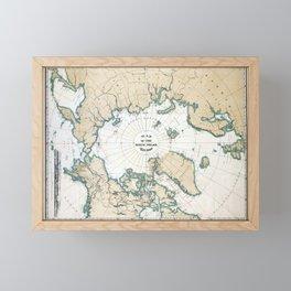 Vintage Map of the North Pole Framed Mini Art Print