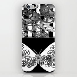 BLACK & WHITE CLOCKWORK BUTTERFLY ABSTRACT ART iPhone Skin