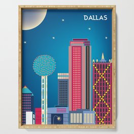Dallas, Texas - Skyline Illustration by Loose Petals Serving Tray
