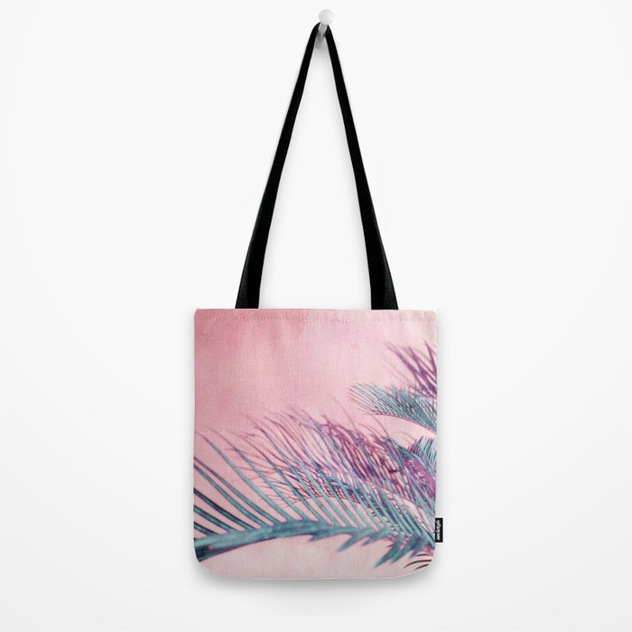 Velvet Pink Palms Tote Bag