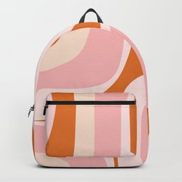 Retro Groove Pink and Orange - Cheerful Abstract Minimalist Pattern Backpack