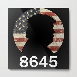 Anti Trump 8645 Silhouette Vintage American Flag Metal Print
