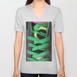 Green shoe laces Unisex V-Neck