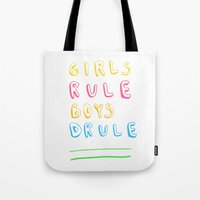 girl power Tote Bags featuring Girl Power by Lovisa Valentino