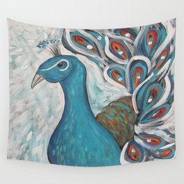 Blue Peacock with Blue Wall Tapestry