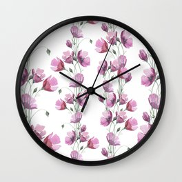 Lavender pink watercolor hand painted floral pattern Wall Clock
