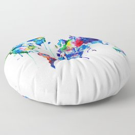 World Map, colorful Floor Pillow