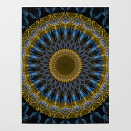 Mandala in golden and blue tones Poster