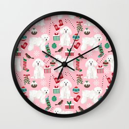 Bichon Frise pink christmas holiday themed pattern print pet friendly dog breed gifts Wall Clock
