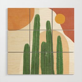 Abstract Cactus I Wood Wall Art