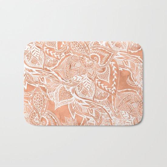 Modern tan copper terracotta watercolor floral white boho hand drawn pattern Bath Mat