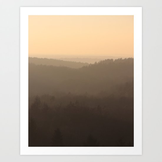 winter sky over the valley Art Print
