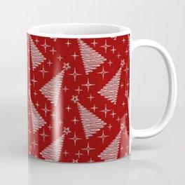Merry Christmas- Abstract christmas tree pattern on festive red Coffee Mug