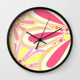 Bright Spring Pink and Orange Flowers Floral Illustration Wall Clock