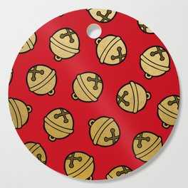 Jingle Bells Christmas Pattern in Gold & Red Cutting Board