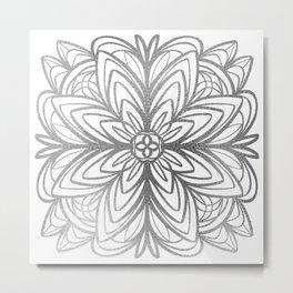 Mandala No.1 in Silver Metal Print