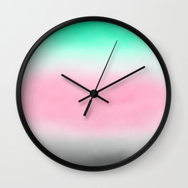 Sorbet Mist - misty scene on mint green, smokey grey & rose pink clouds Wall Clock