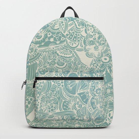 Detailed rectangle, light blue Backpack