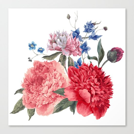 Beautiful PINK, ROSE AND BLUE - Jersey Beauty Flower Canvas Print