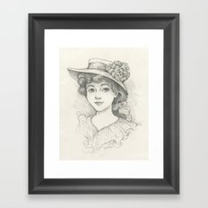 Sketch of an Edwardian Lady Framed Art Print