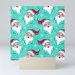 'Tis The Season Retro Santa Aqua Multi Pattern Mini Art Print