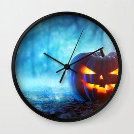 Halloween Jack O Lantern Pumpkin Head In Gloomy Forest Ultra HD Wall Clock