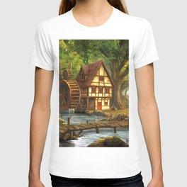 Little Watermill In Idyllic Forest Ultra HD T-shirt