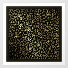 golden notes music symbol in black Art Print