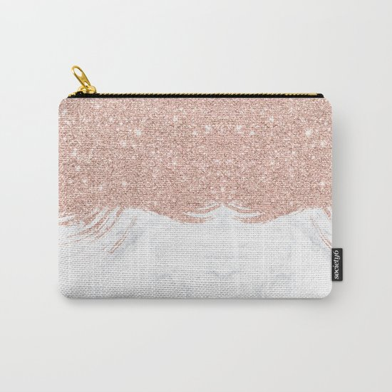 Trendy modern faux glitter rose gold brushstrokes white marble  Carry-All Pouch