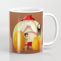 studio ghibli Mugs featuring Studio Ghibli - Radish Spirit by Laurence Andrew Page Illustrator