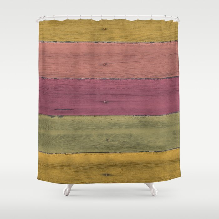 Colorful Wood Grain Shower Curtain By Jessicatorres