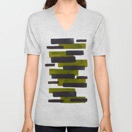 Olive Green Primitive Stripes Mid Century Modern Minimalist Watercolor Gouache Painting Colorful Str Unisex V-Neck