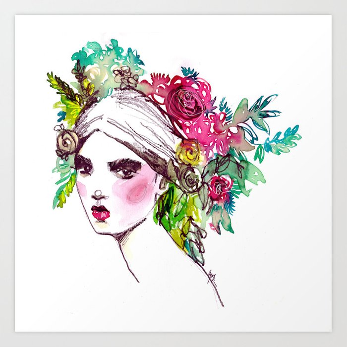 #Floral fashion portrait Art Print