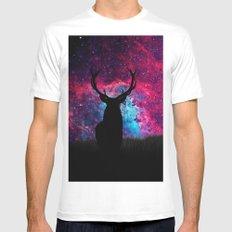 Deer Galaxy MEDIUM White Mens Fitted Tee