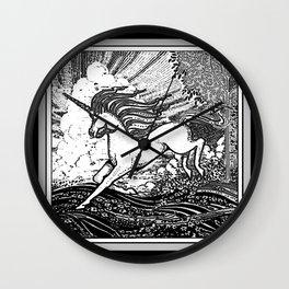 Mystic Running Unicorn In Meadow B&W Drawing Wall Clock