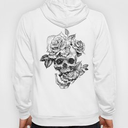 Black and White skull with roses pen drawing Hoody