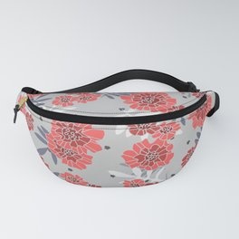 Crimson and Silver Floral Fanny Pack