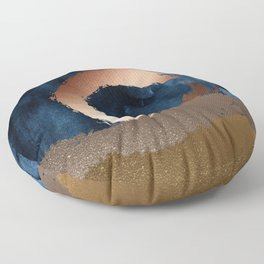 Navy Blue, Gold And Copper Abstract Art Floor Pillow