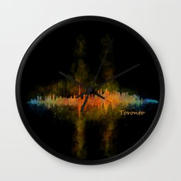 Toronto Canada City Skyline Hq v02 dark Wall Clock