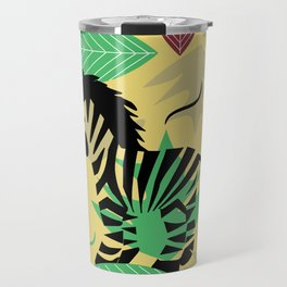 Zebra with leaves and dots Travel Mug