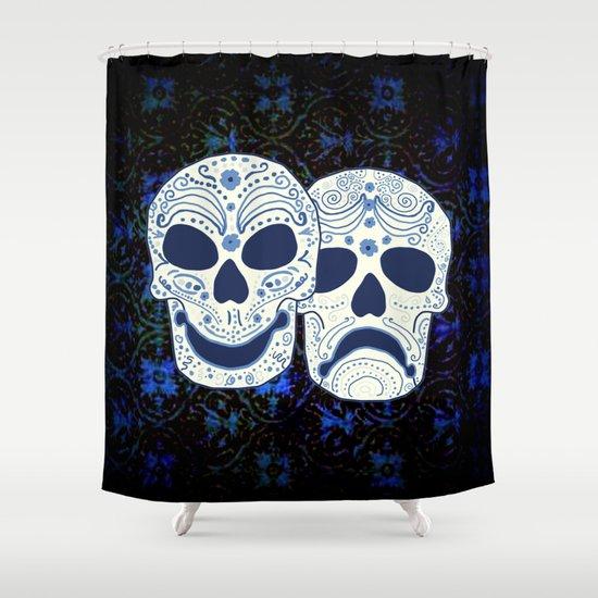 Comedy-Tragedy Sugar Skulls Cyan Shower Curtain by Jan4insight ...