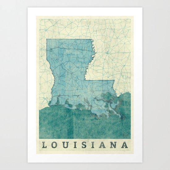 Louisiana State Map Blue Vintage Art Print