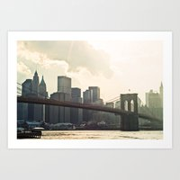 brooklyn bridge Art Prints featuring Brooklyn bridge by Photography by Karin A