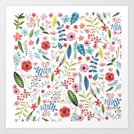 Cute colorful botanical flowers and leafs pattern Art Print