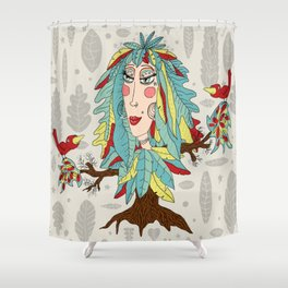 quirky bohemian boho tree, leaves and feather fantasy woman / girl Shower Curtain
