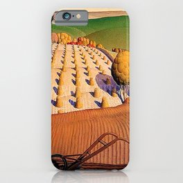 Classical Masterpiece 'Fall Plowing' by Grant Wood iPhone Case