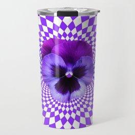 OPTICAL LILAC  PURPLE PANSIES GEOMETRIC ART Travel Mug