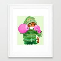 boxing Framed Art Prints featuring BOXING CAT 4 by Tummeow